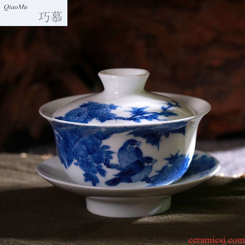 Qiao mu of jingdezhen blue and white porcelain painting of flowers and hand - made kung fu tea tureen of a complete set of kung fu tea tea set by hand