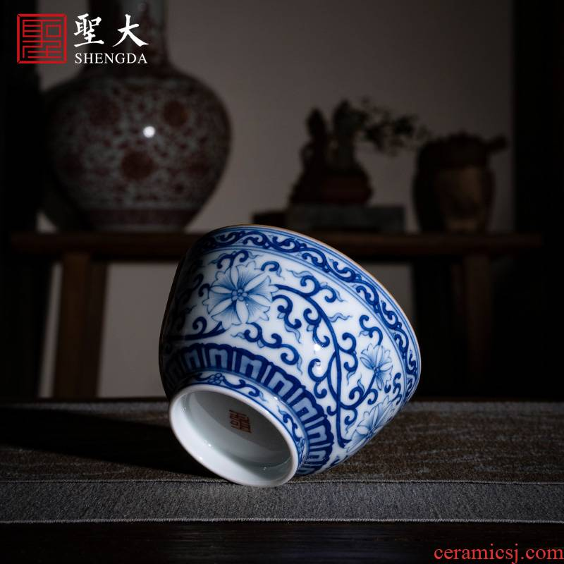 Santa jingdezhen ceramic kung fu tea cups pure manual hand - made porcelain branch sees the master cup sample tea cup