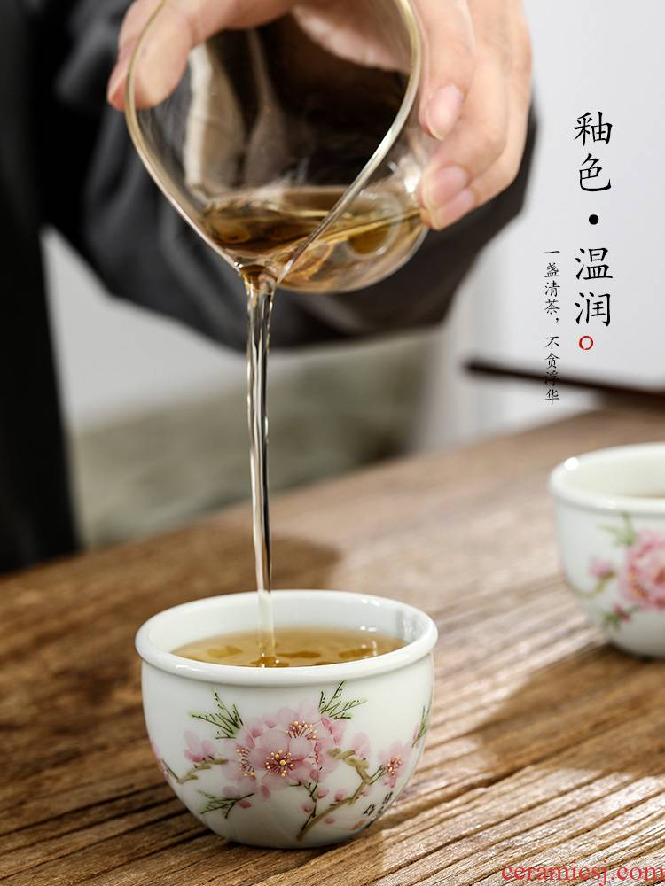Xu, Jiaxing hand - made peach blossom put water point masters cup kung fu tea set sample tea cup cup jingdezhen pure checking ceramic cup