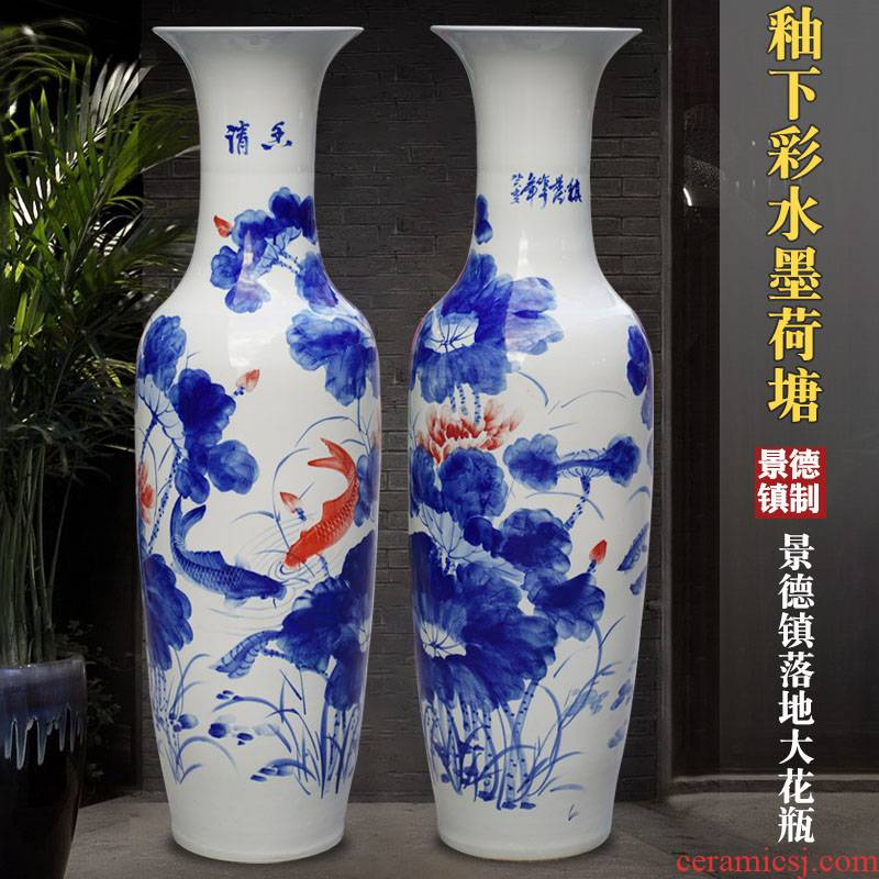 Jingdezhen blue and white porcelain painting ink lotus pond floor big ceramic vase sitting room of Chinese style household furnishing articles ornaments
