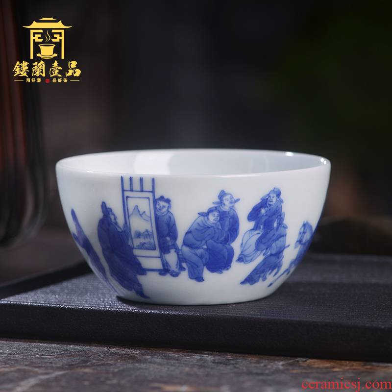 Art benevolence blue drinks the eight immortals in the masters cup of jingdezhen ceramic hand - made single CPU kung fu tea set personal tea cup
