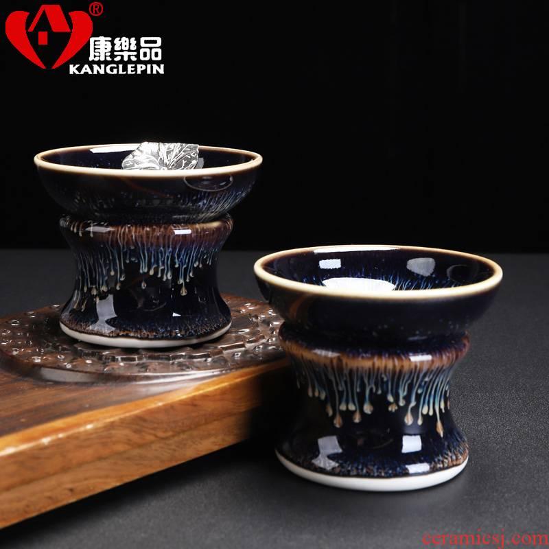 Recreational taste exquisite tea strainer kung fu tea accessories to build light) tea strainer obsidian ceramic bracket