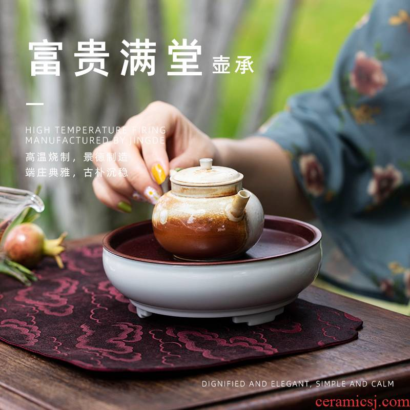 Riches and honour and pot bearing home doing mercifully small saucer for high level of jingdezhen ceramic tea tray tray appearance