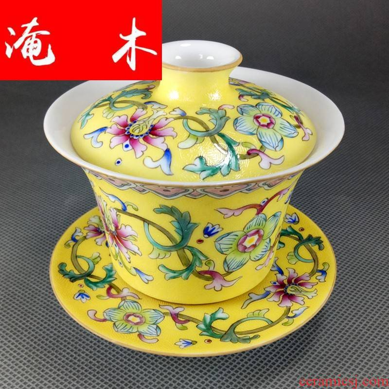 Submerged wood grilled promotion of jingdezhen ceramic famille rose flower hand - made colored enamel tureen wsop rice cup of form a complete set of pu 'er tea set