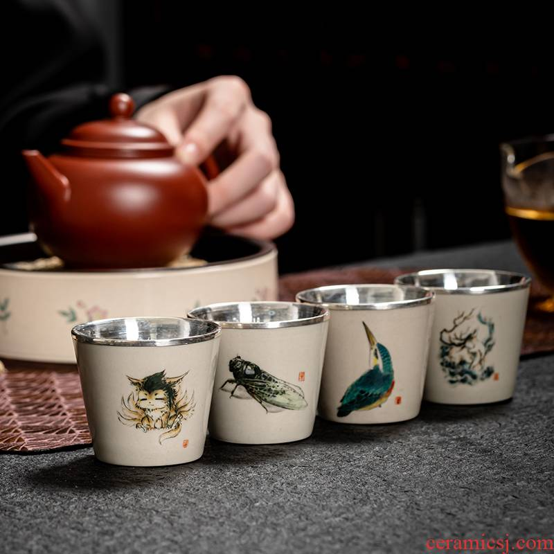 Jingdezhen coarse pottery hand - made teacup full porcelain silvering cup noggin single individual special masters cup sample tea cup