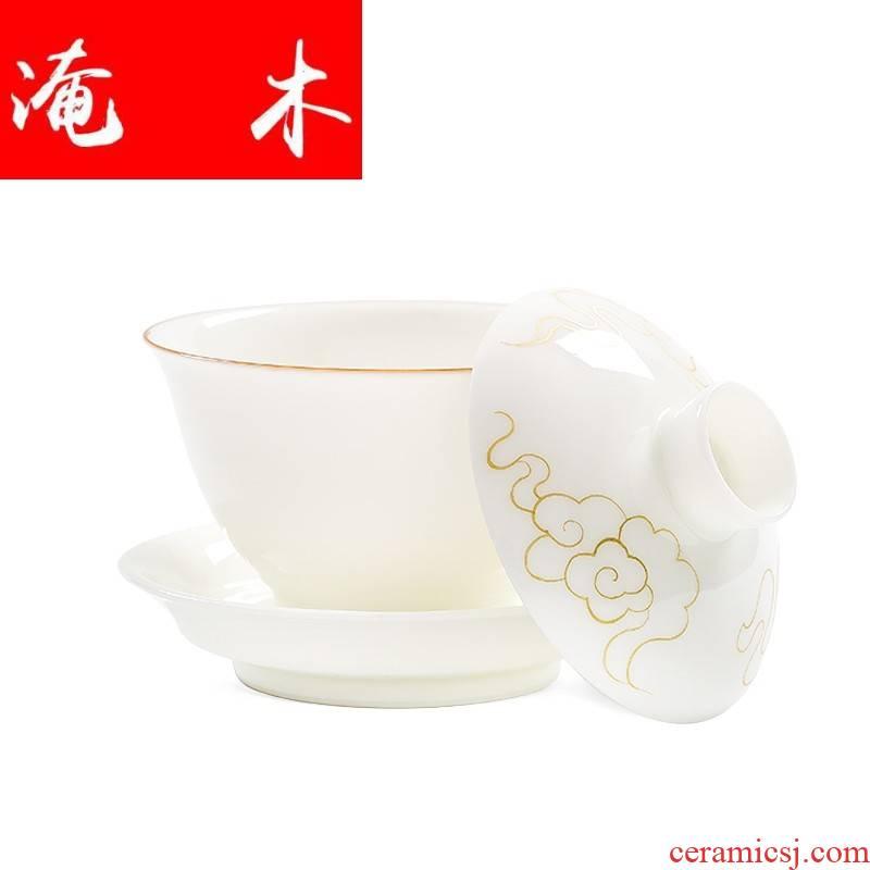 Submerged wood sweet pure manual craft tureen hand - made xiangyun kung fu tea bowl jingdezhen thin foetus three cups