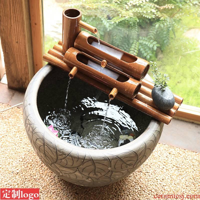 Ceramic aquarium filter circular cylinder porcelain jar of aerobic filter cartridge placed on fish filtration equipment.mute triad