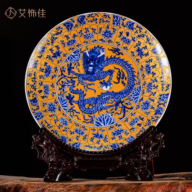 Jingdezhen ceramics golden dragon living room TV ark, handicraft decorative plates of new Chinese style office furnishing articles