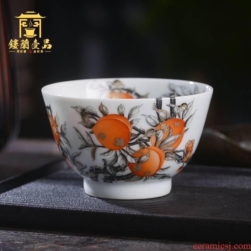 All hand - made color ink alum see colour peach red ink in the masters cup of jingdezhen ceramic tea set a single cup of tea cup kung fu