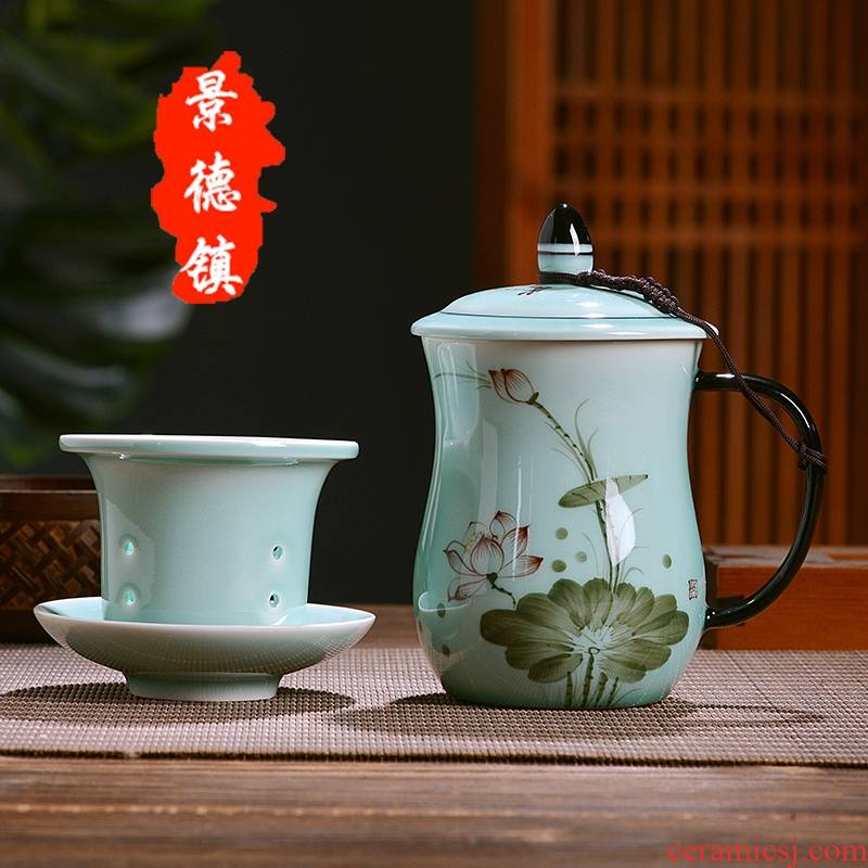 Qiao mu JDL jingdezhen ceramic filtering office tea cups with cover separation of household water cup tea tea cup