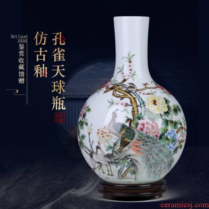 Jingdezhen archaize peacock ceramic vases, furnishing articles sitting room porch Chinese flower arranging decorations large porcelain decoration