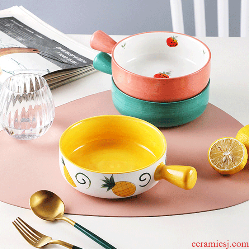Roasted bowl Nordic household ceramic bowl breakfast baking bowl with the handle of the big bowl of oven baked bread and butter fruit bowl