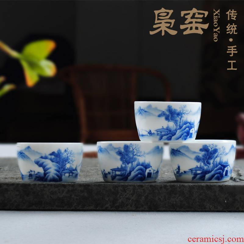 The Owl up jingdezhen blue and white landscape single hand - made ceramic kung fu tea tea cup suit individual sample tea cup