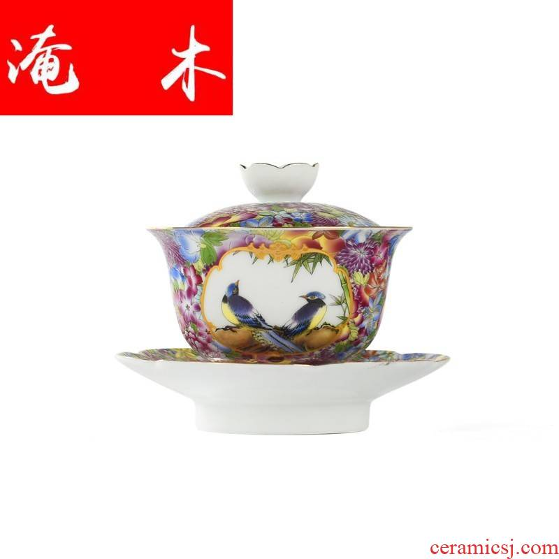 Submerged wood jingdezhen jindi flower pastel colored enamel porcelain large three tureen kung fu tea tea cup