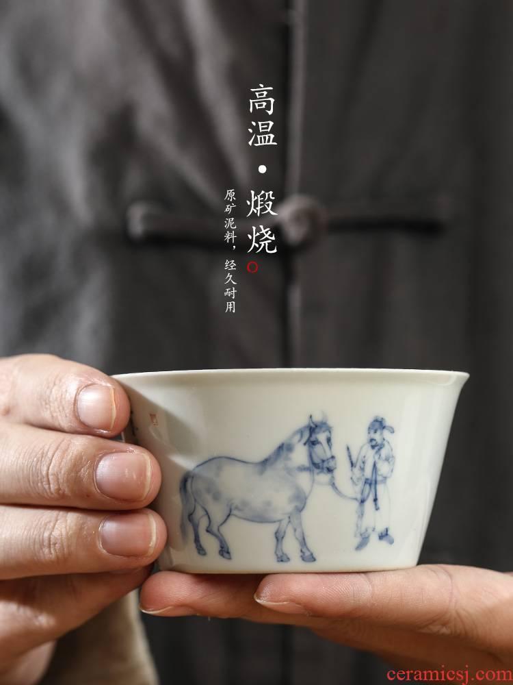Jingdezhen blue and white master kung fu tea cup of pure manual sample tea cup single CPU hand - made big horse ceramic tea set