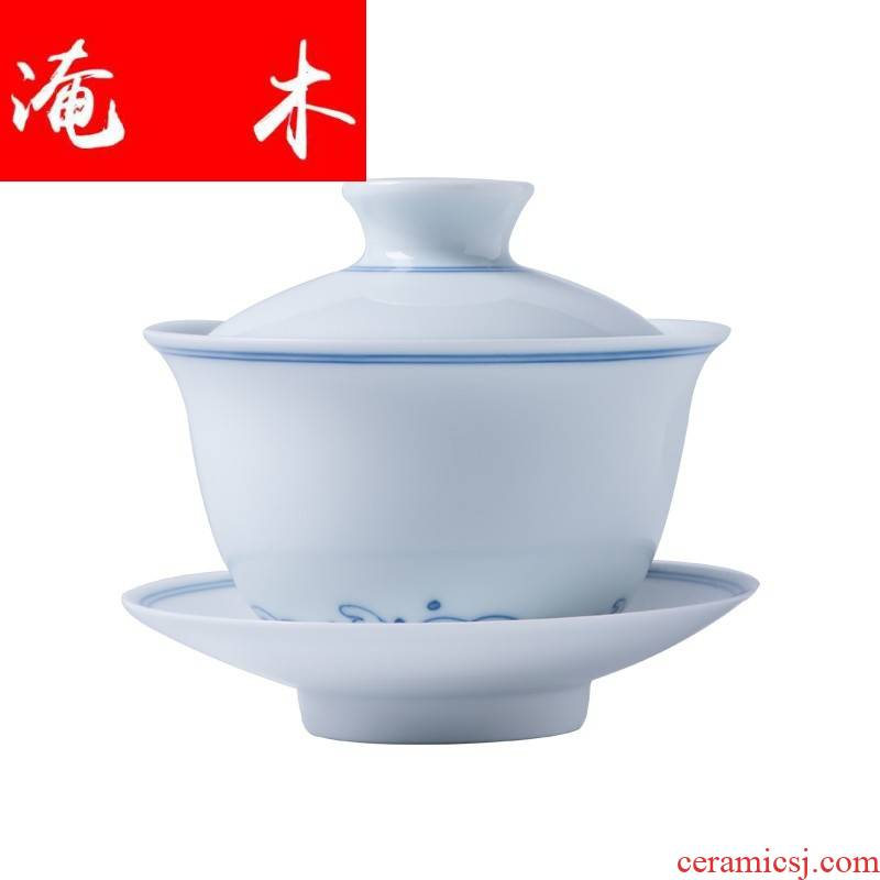 Flooded pure hand - made wooden jingdezhen tea set double blue and white porcelain tea tureen manual GaiWanCha special package mail