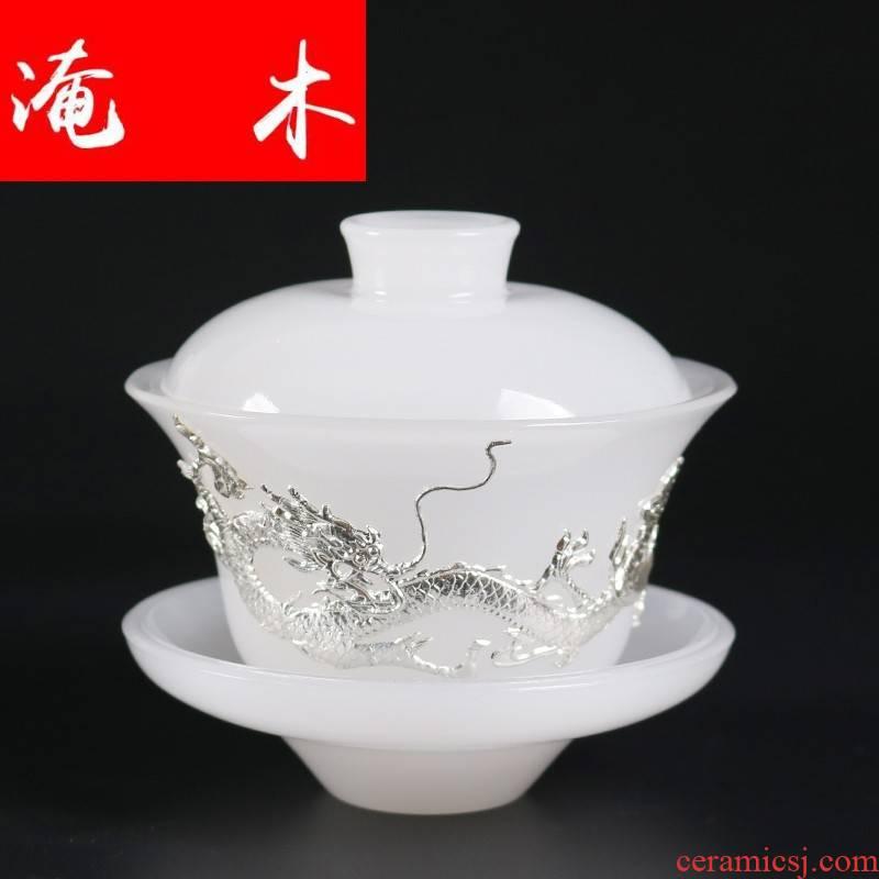 Submerged wood dehua white porcelain tea bowl creative silver longfeng only tureen white porcelain kung fu tea set of three