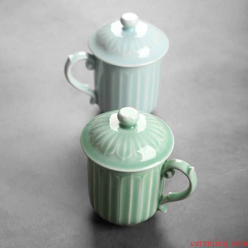 Qiao mu QYX celadon lotus mugs ceramic cups with cover glass cup tea cup of large capacity office