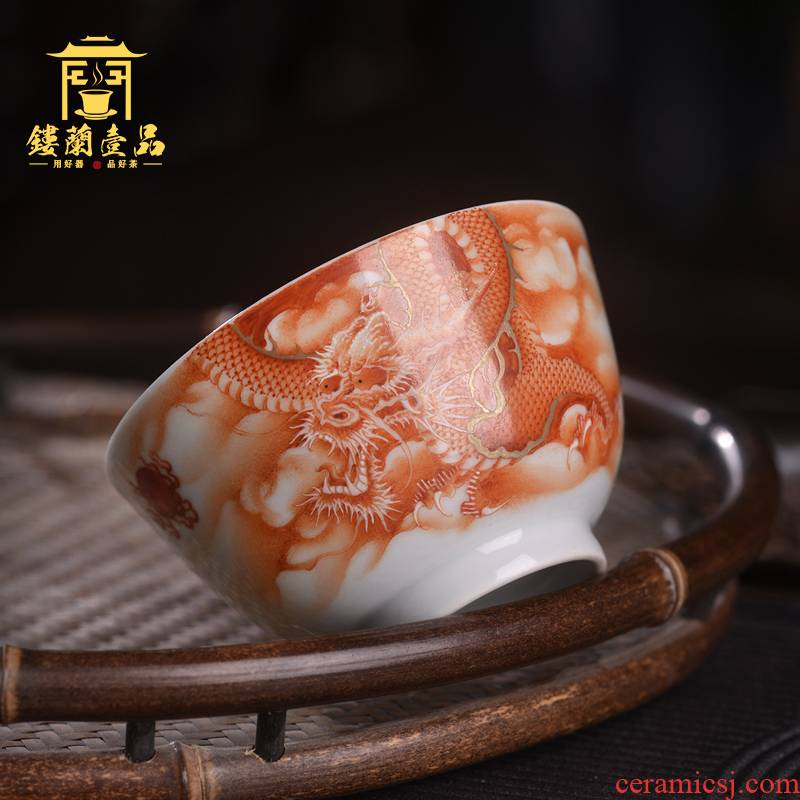 Jingdezhen ceramic all hand - made alum red paint longfeng auspicious master cup from the single CPU large tea cup