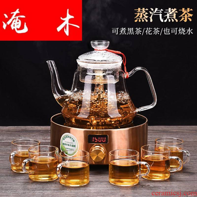 Submerged wood more heat resistant glass teapot the boiled tea, the electric TaoLu suit household black crystal plate electric TaoLu boil tea