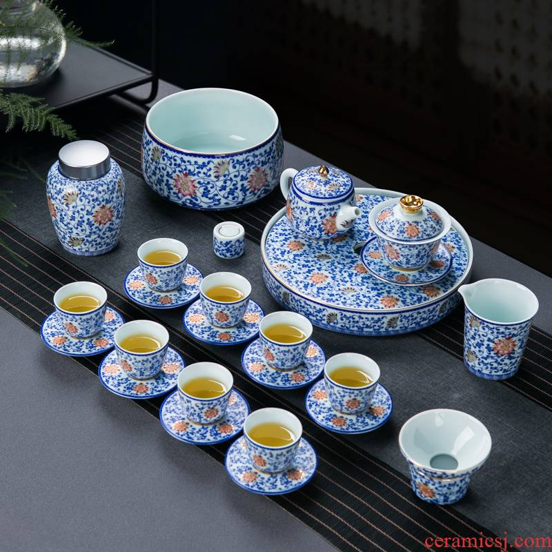 Blue and white tie up the see colour of a complete set of lotus flower tea set tea service home jingdezhen ceramic water make tea tea tray