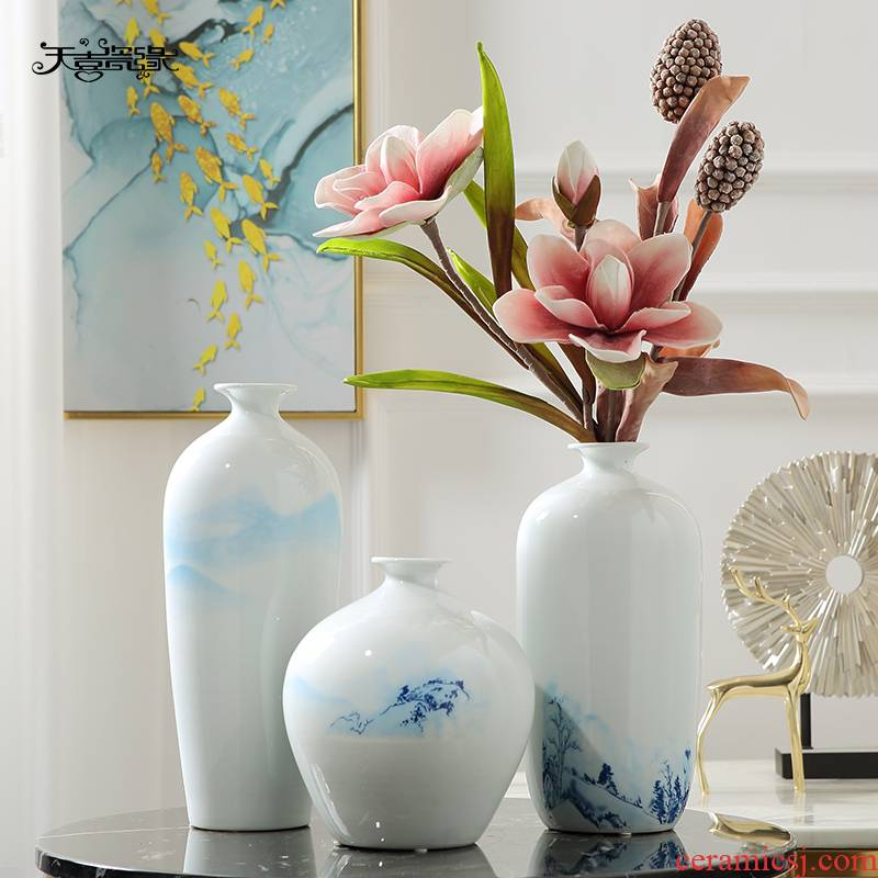 Dried flower arranging flowers Chinese jingdezhen ceramics floret bottle furnishing articles, the sitting room porch TV ark, home decoration