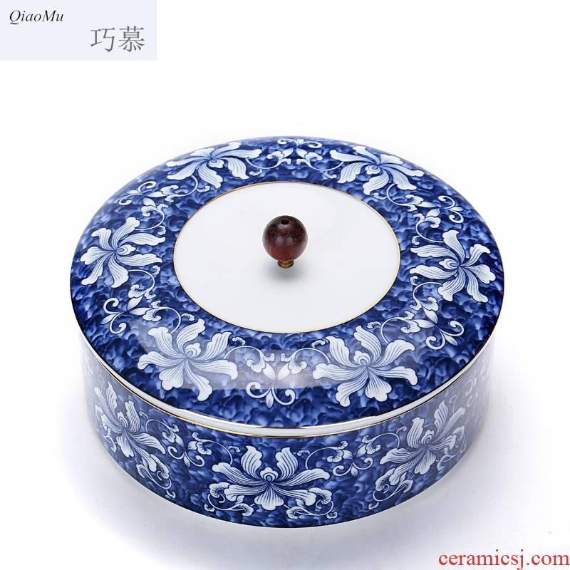 Qiao mu large puer tea box of blue and white porcelain ceramic tea pot tea POTS of tea cake box sealing detong to wake