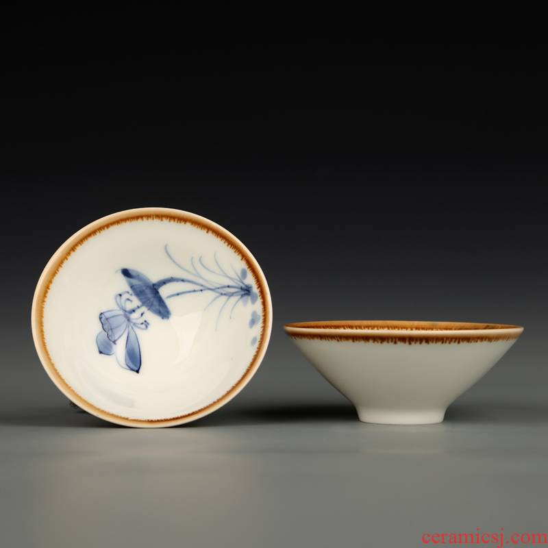 Hui shi hand - made ceramic cups kung fu tea sample tea cup hat to master cup small masterpieces of blue and white porcelain, building light bowl