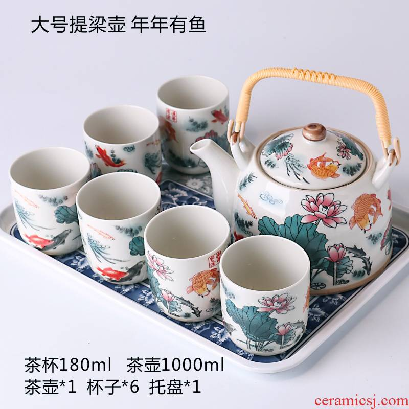 Jingdezhen large teapot tea sets tea tray was kung fu tea set of blue and white porcelain ceramic household contracted and I hui shi