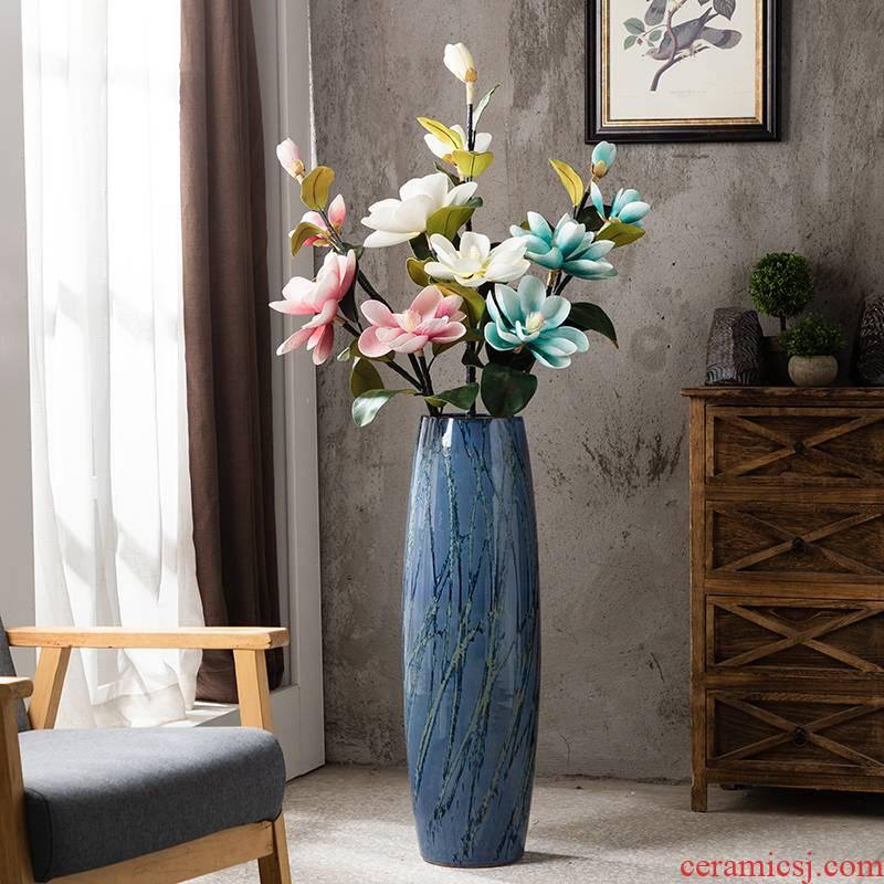 American ceramic floor large living room TV cabinet dry flower decoration vase vase porch creative furnishing articles restoring ancient ways
