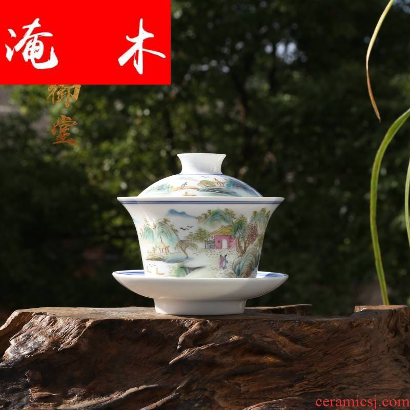 Submerged wood master of jingdezhen ceramic tea cup sample tea cup cup hand - made pastel scenery somebody else to use three only
