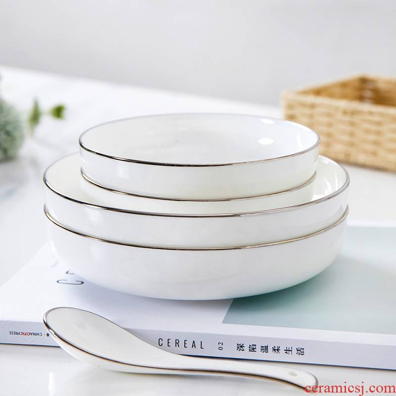 Ceramic dish dish home round soup plate deep dish FanPan pure white white up phnom penh contracted creative ipads porcelain tableware home plate