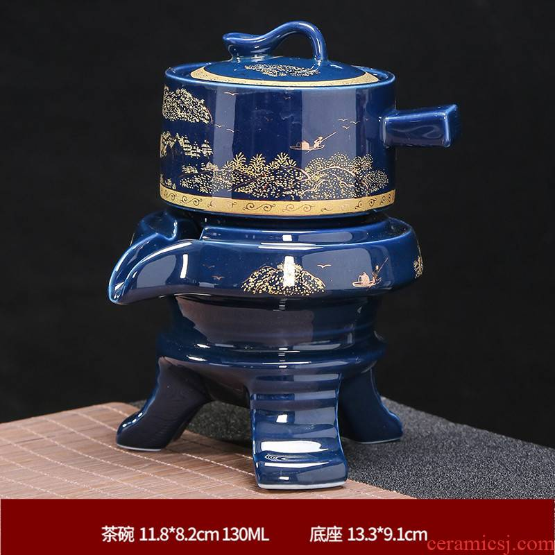 Lazy half automatic ceramic contracted kung fu tea set and exquisite home sitting room teapot teacup blunt tea