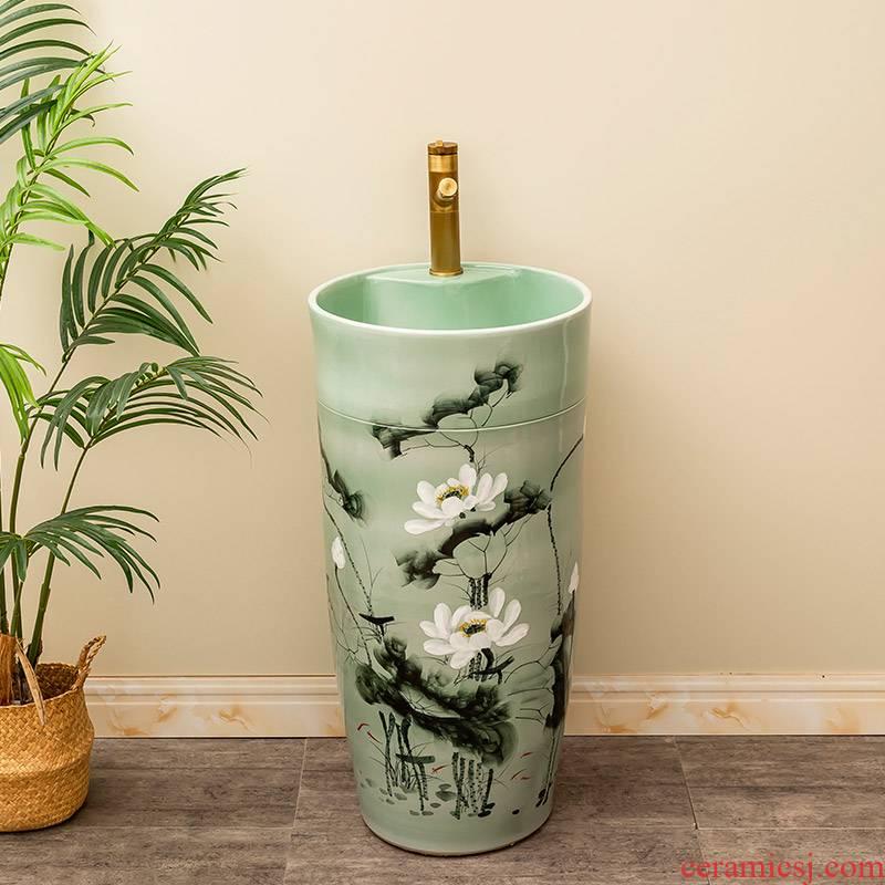 Chinese lotus ceramic one pillar type lavatory floor is suing garden sinks balcony sink