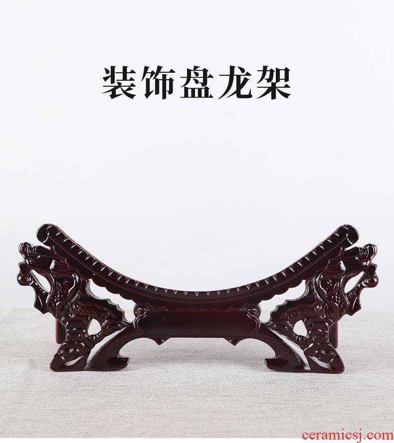 Ceramic decoration plate, double tap stents high - grade decoration plate bracket wooden base