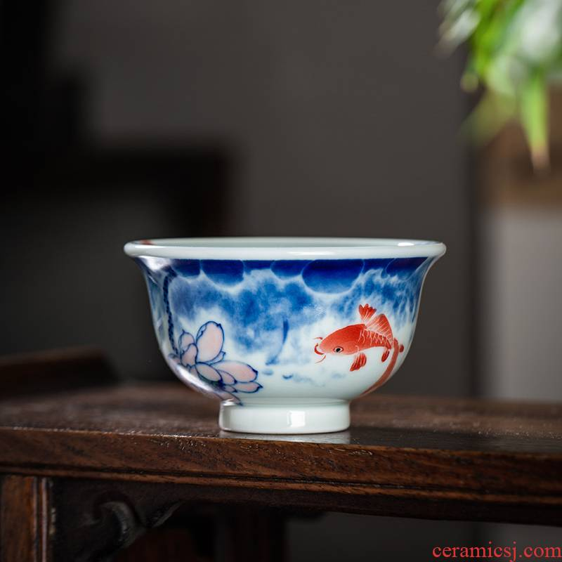 The Owl up jingdezhen porcelain glaze color hand - made kung fu tea cup under the master cup red carp ceramic pressure hand cup