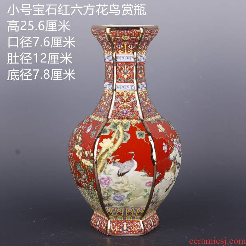 The Qing qianlong see colour enamel painting of flowers and the six - party antique craft porcelain vase household of Chinese style antique penjing collection