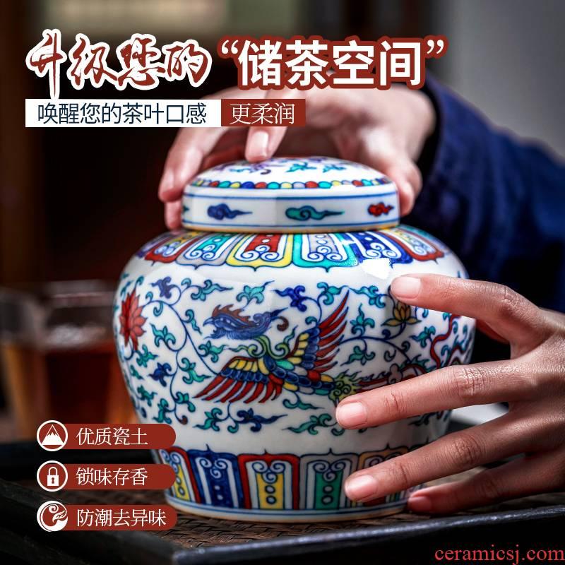Blue and white porcelain of jingdezhen ceramic tea pot high - end large storage tank sealing hand - made retro household puer tea