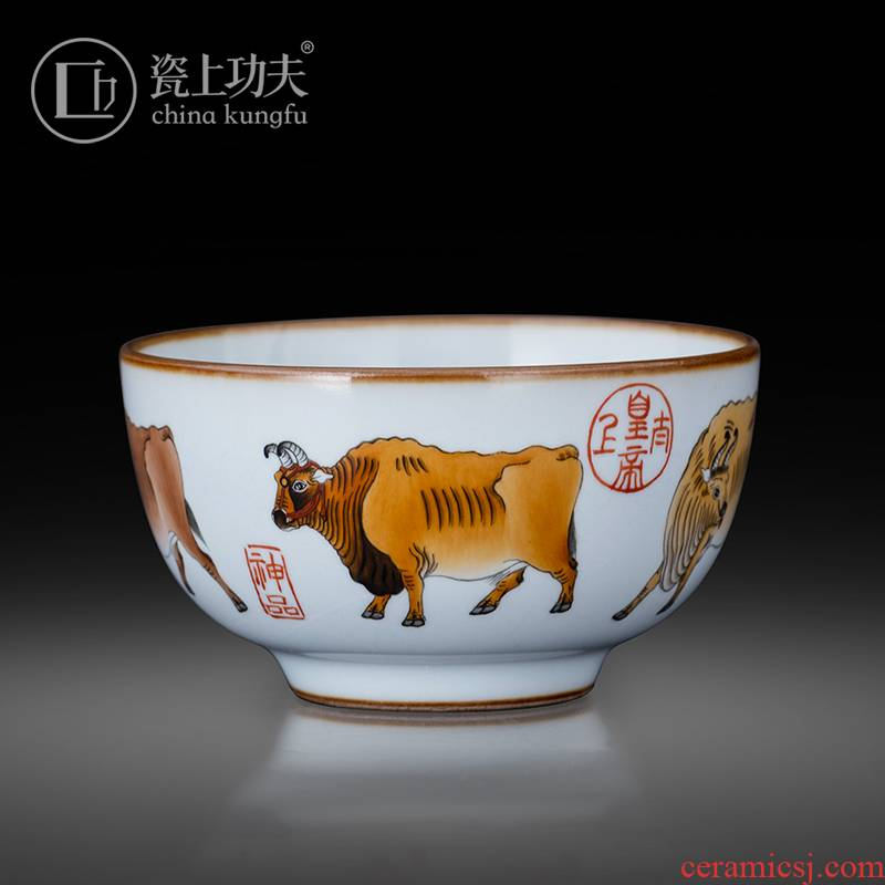 Jingdezhen ceramic hand - made color ink five NiuTu master cup your porcelain pieces can raise kung fu tea tea set sample tea cup