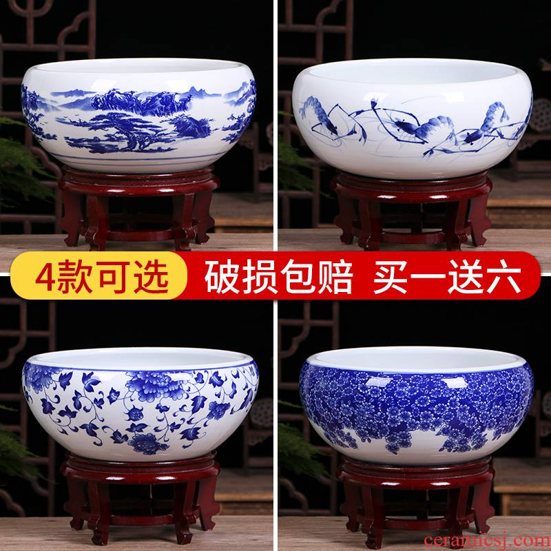 Jingdezhen ceramic goldfish bowl of small basin of water lily sitting room desktop to raise a goldfish bowl lotus basin water lily cylinder