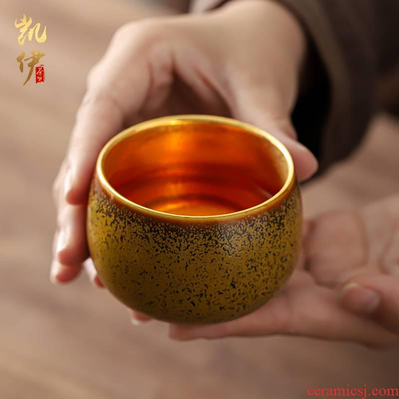 Temmoku up ceramic gold gold light kunfu tea sample tea cup cup tea cup master cup tea cup single CPU