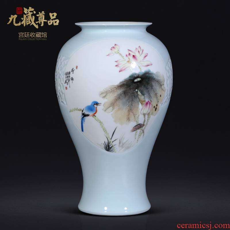 The Teacher hand - made enamel vase of jingdezhen ceramics new Chinese style living room TV ark, flower arranging porch is decorated furnishing articles