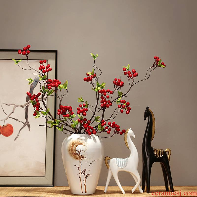 Jingdezhen modern creative home sitting room porch dried flower vase furnishing articles Chinese zen ceramics vase decoration