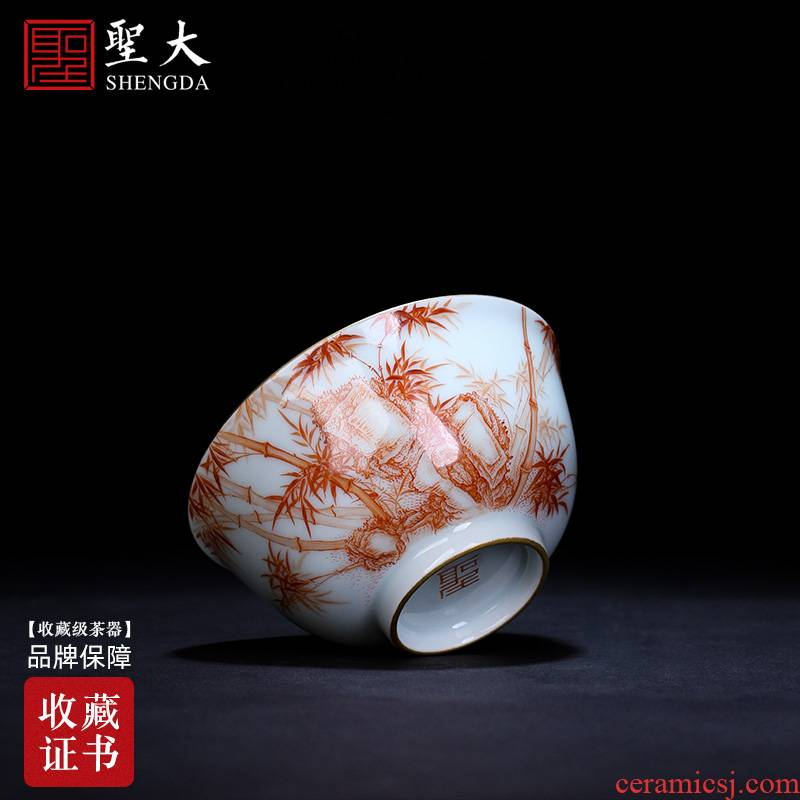 Holy big ceramic kung fu masters cup manual hand - made alum stone figure cups red color bamboo bowl jingdezhen tea by hand