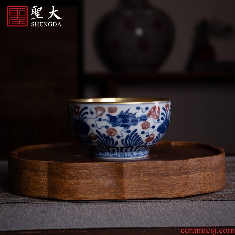 Holy big ceramic kung fu tea cup pure manual hand - made porcelain youligong Jin Bianyu algal lines master cup sample tea cup
