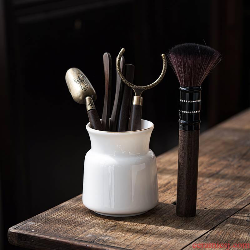 Suet jade white porcelain tea six gentleman ceramic household single brush pot ebony ChaGa kung fu tea accessories