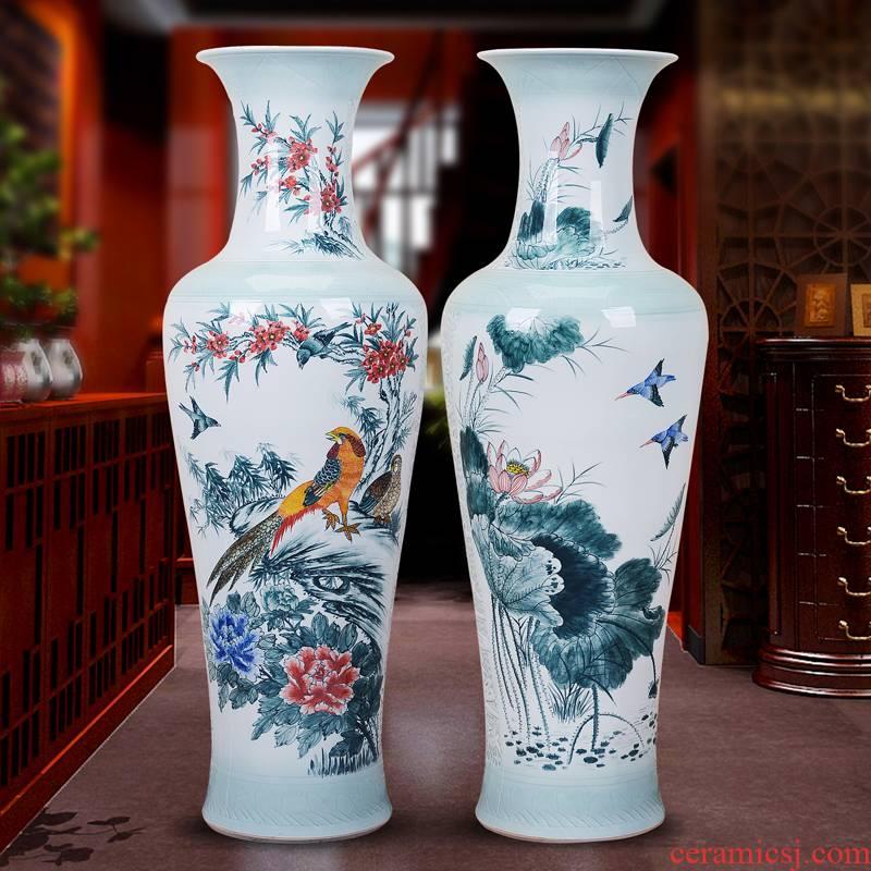 Authentic jingdezhen ceramics vase landed hand - made hotel living room large porcelain furnishing articles 1 & ndash; 1.6 meters