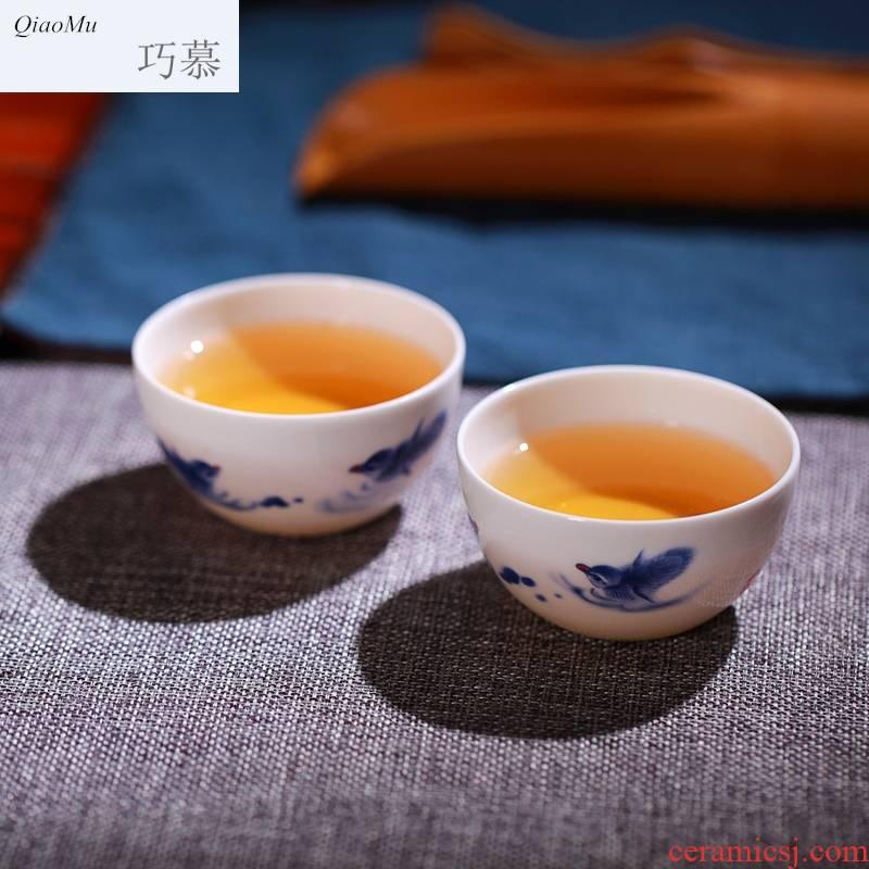 Qiao mu blue - and - white porcelain tea set jingdezhen blue and white youligong kung fu tea set sample tea cup ceramics