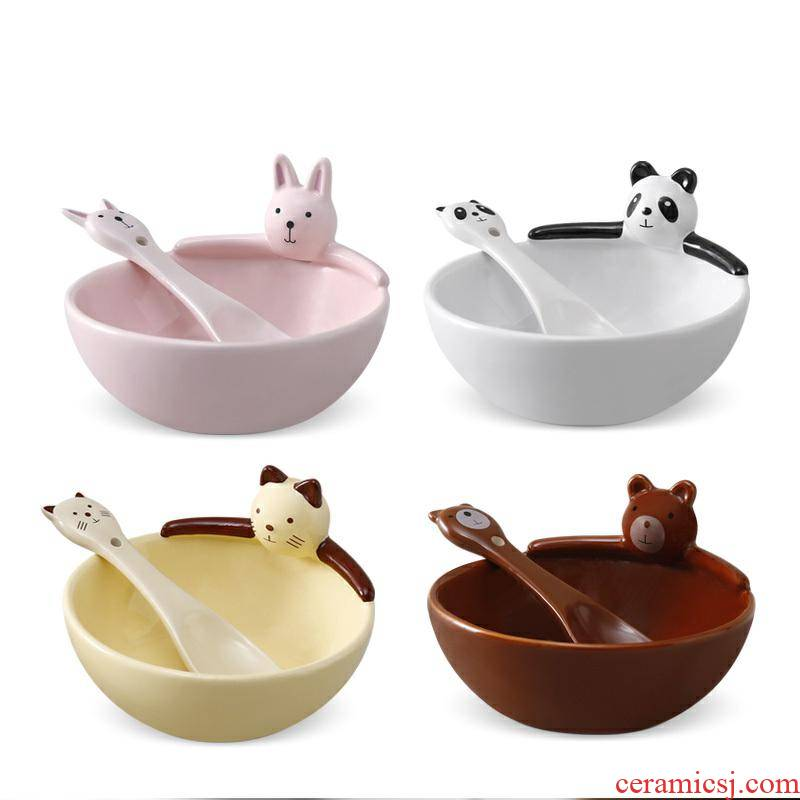 Baby children eat rice bowl bowl spoon set to use cartoon ceramic bowl bowl of single lovely home side dish bowl dishes