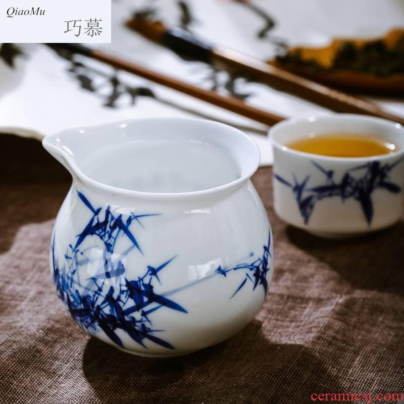 8 head qiao mu JYD hand made blue and white porcelain of jingdezhen porcelain tea set a complete set of creative ceramic four unity